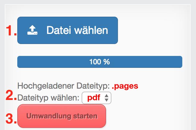 Pages in PDF Dateien online Konvertieren